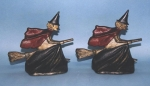 Click to view Witch on Broom Bookends photos