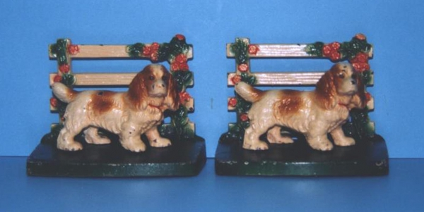 Cocker Spaniel by Fence Bookends