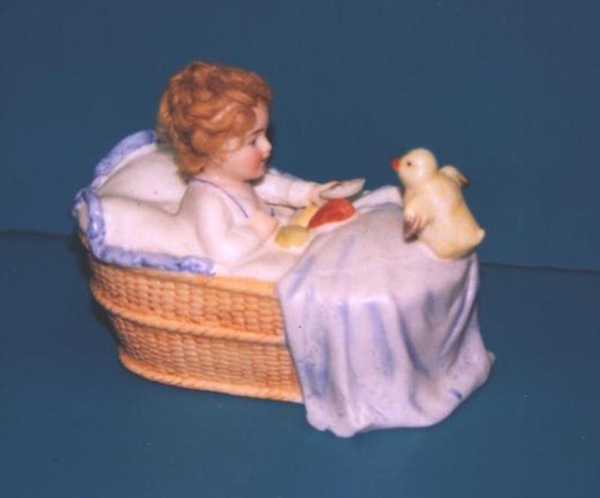Child with Chick in Basket  Pottery Bank