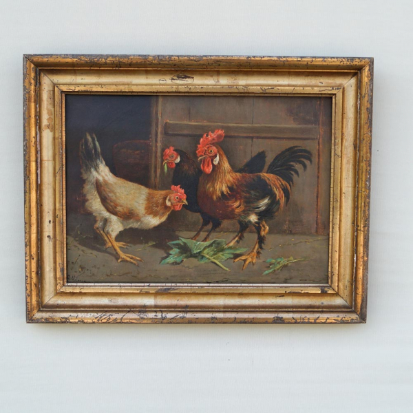 Antique Rooster & Hen Oil Painting