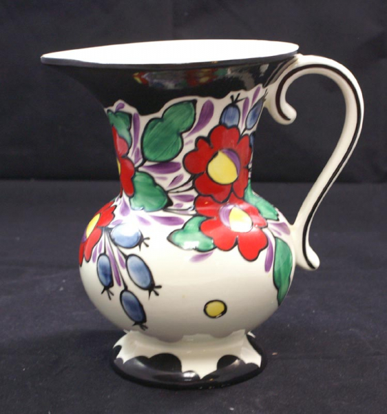 Decorated Czech Art Pottery Pitcher